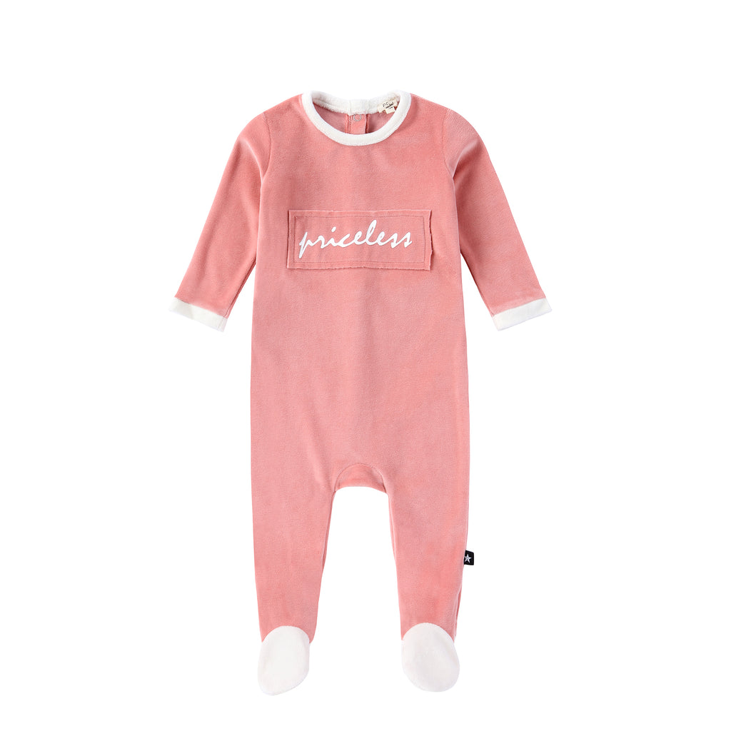 "Pink Velour ""Priceless"" Onesie"