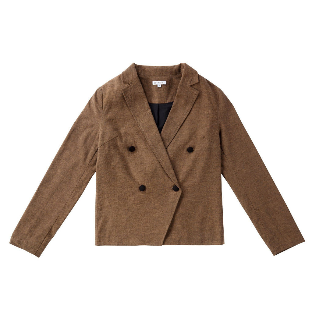 Teens Brown Tweed Double Breasted Blazer