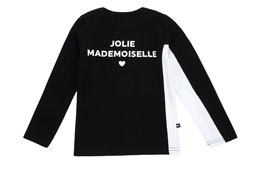 Girls Black and white Jolie Mademoiselle Ribbed Tshirt