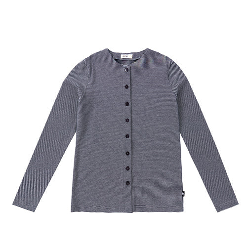 Teens Navy and Heather Grey Button Down Long sleeve