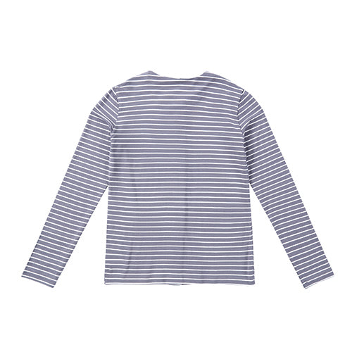 Teens Bluish Gray and Ivory Striped Button Down Long Sleeve