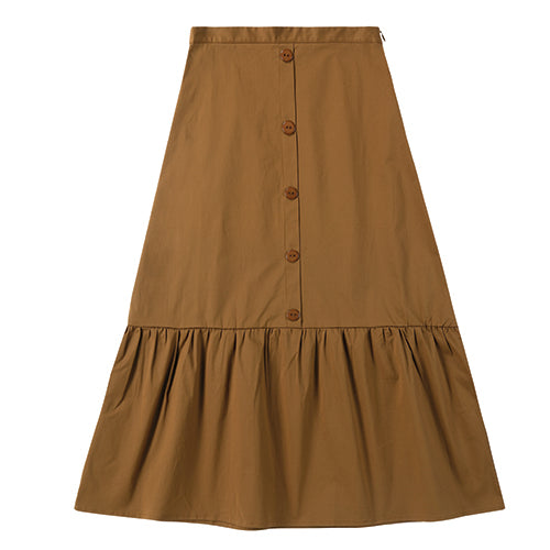 Teens Faux Button Skirt in Rust