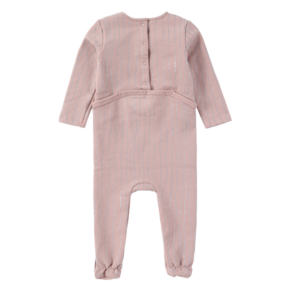 Baby Pink Footie with Metallic Stripes