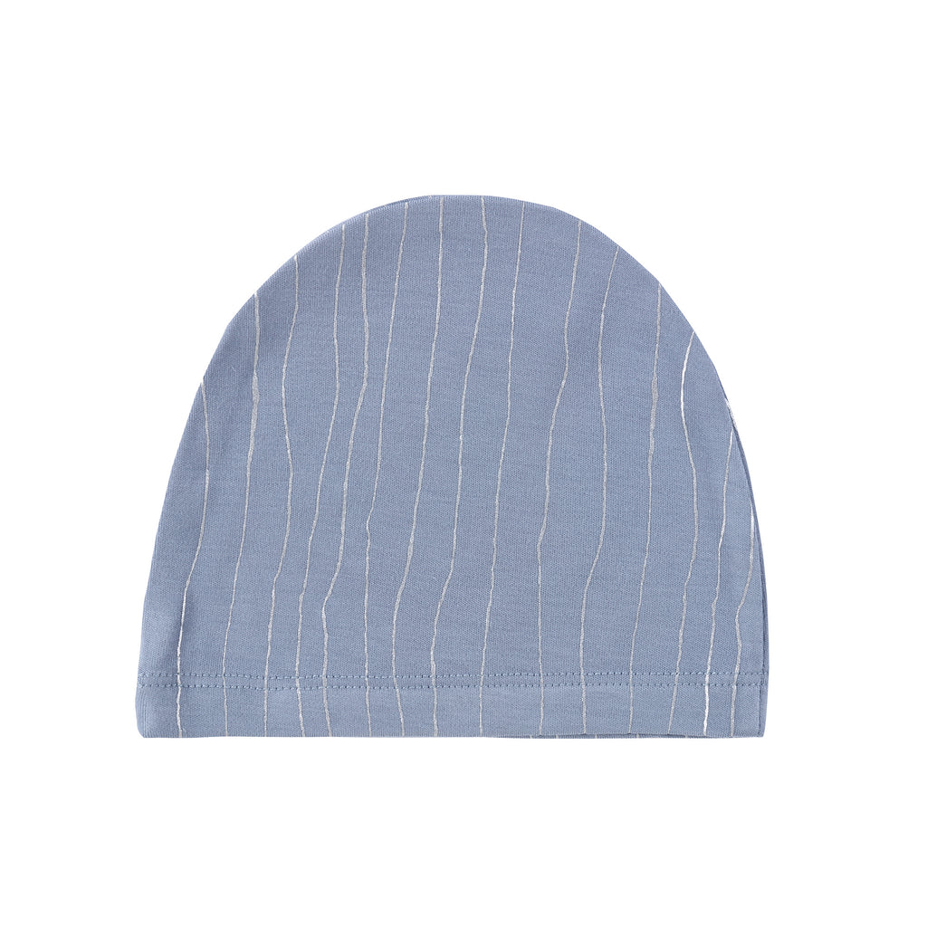 Baby Blue Hat with Metallic Silver Stripes