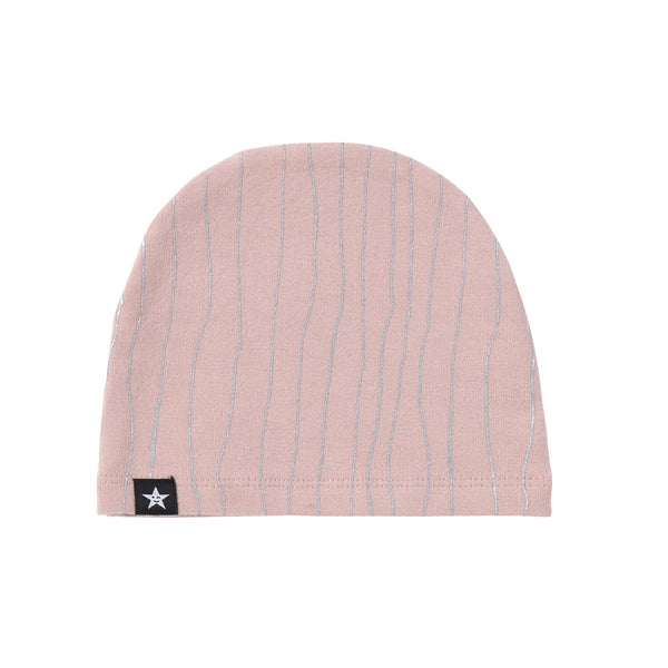 Baby Pink Hat with Metallic Silver Stripes