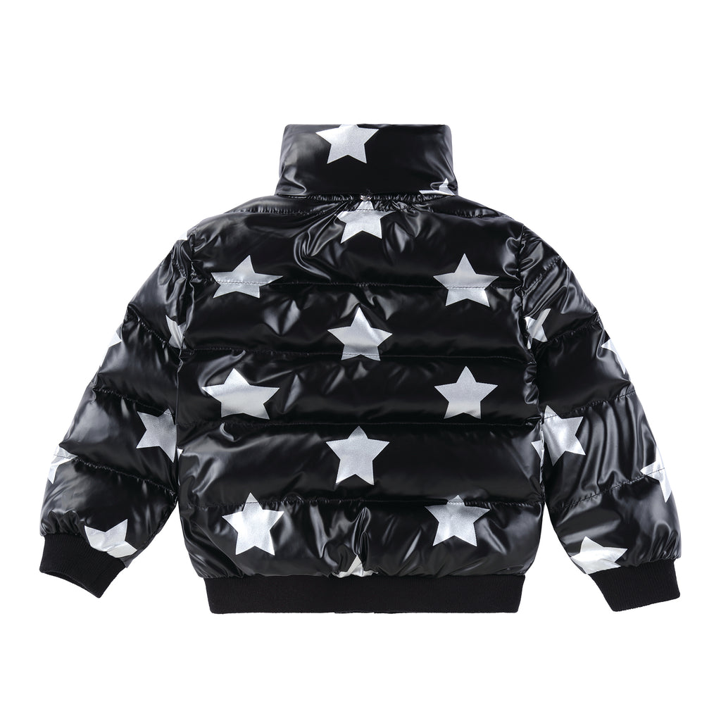Baby Black Puffer Jacket with Silver Stars