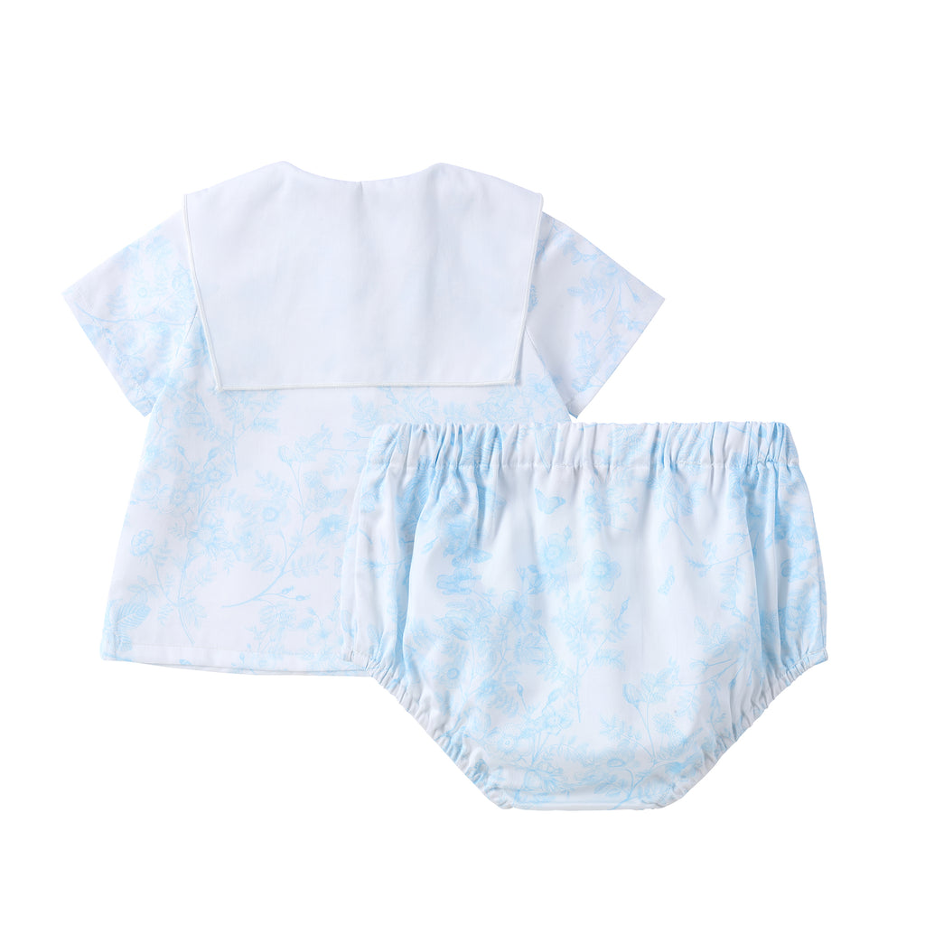 Light Blue Floral Collar Set