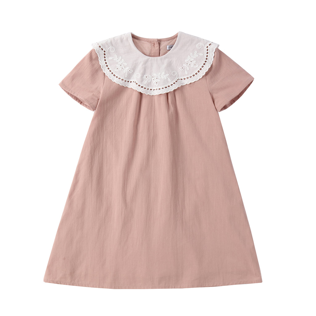 Lace Collar Dress in Dusty Pink
