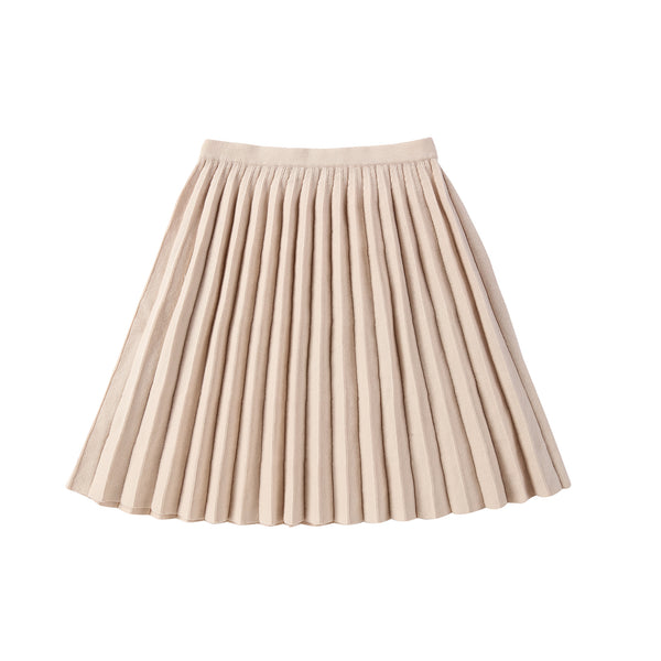 Girls Sand Knit Pleated Skirt