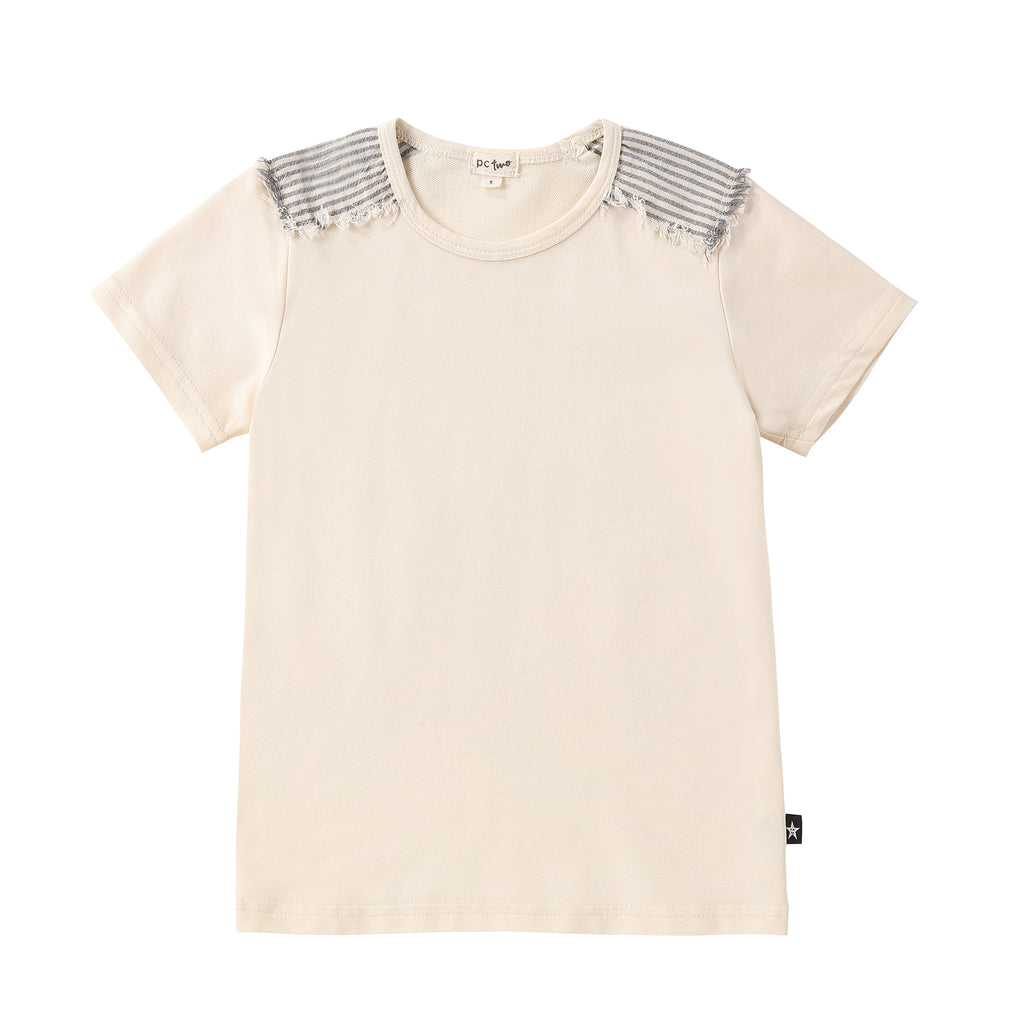 Sand Tshirt with Stripe Linen Shoulder Accents