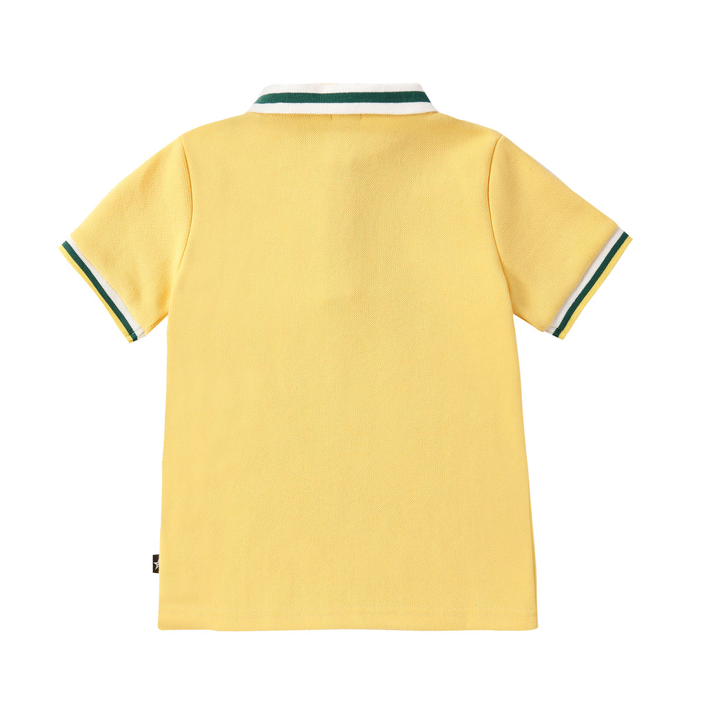 Boys Short Sleeve Yellow Polo with Lemon Embroidery