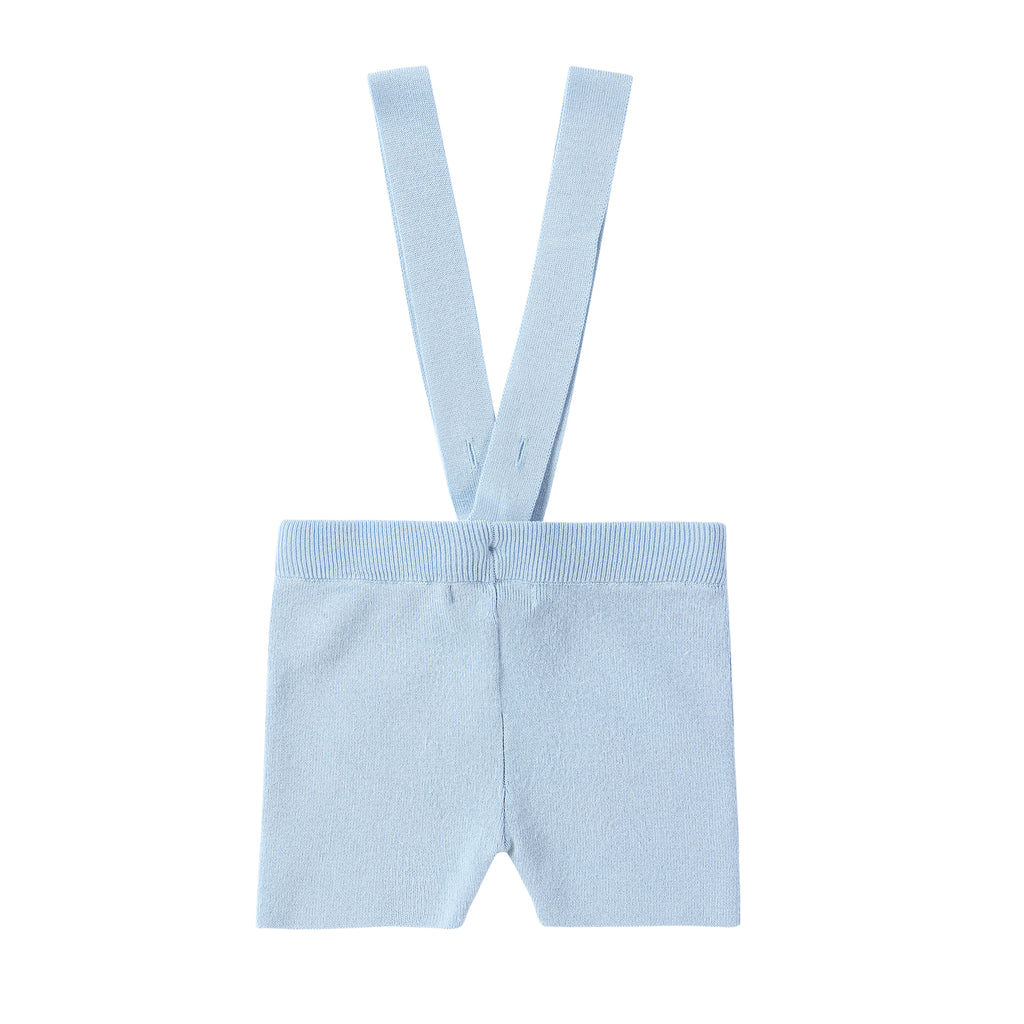 Light Blue Knit Suspender Romper