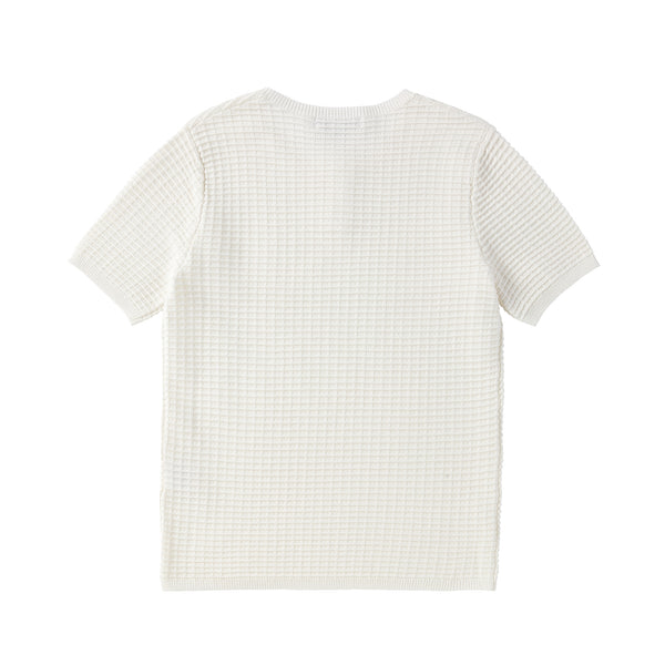 Boys Ivory Grid Knit Henley