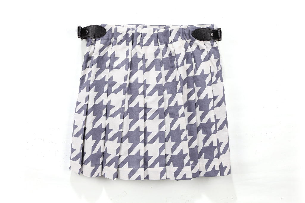 Bree Buckle Skirt in Blue Houndstooth