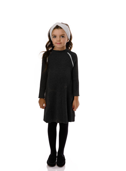 Girls' Ribbed Sweater Dress in Black