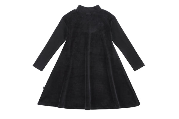 Girls' Black Velour Dress with Ribbed Sleeves