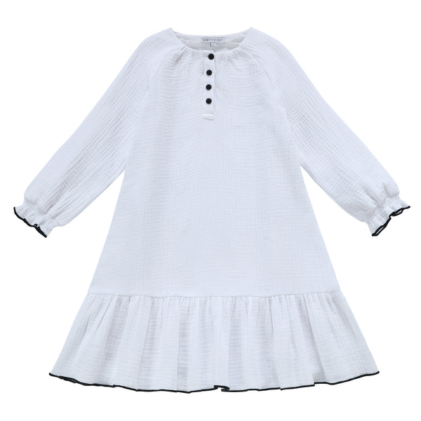 Girls Muslin Textured Dress