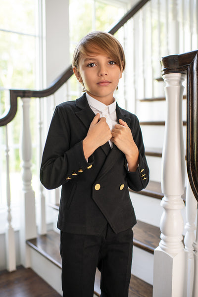 Boy's Double Breasted Blazer in Black