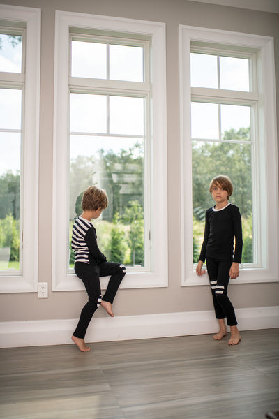 Stripe Pajamas with Knee Patches in Black and White