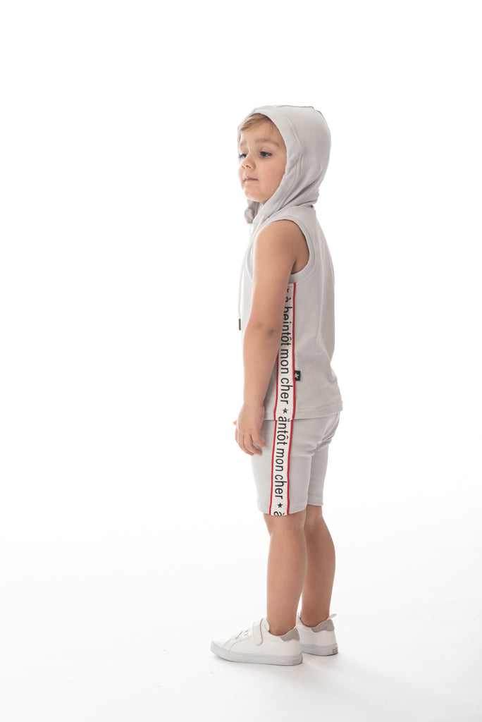 Boys' Sleeveless Hooded Light Grey T-shirt Set
