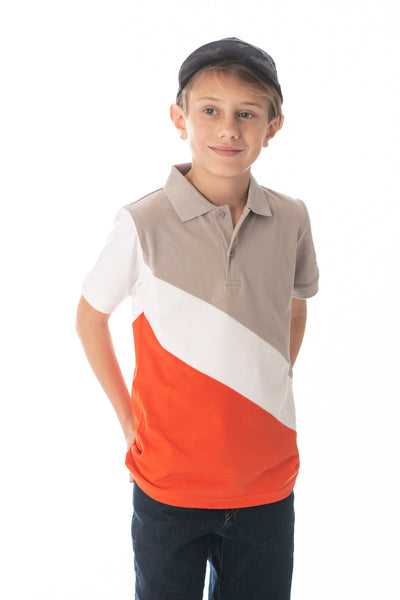 Boys' Colorblock Polo in Grey, White and Red