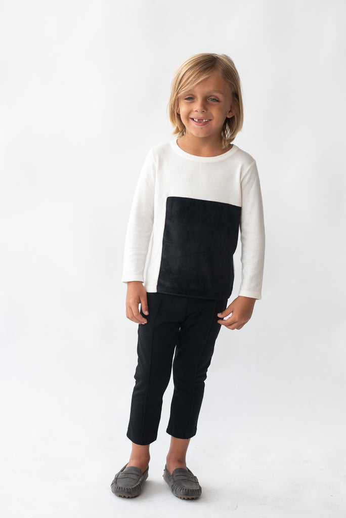 Ivory and Black Square Velvet Patch Sweater