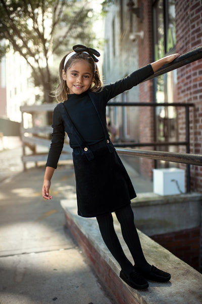 Girls' Velour Suspender Jumper in Black