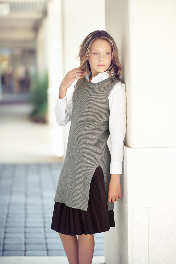 Girls Charcoal Long Knitted Top