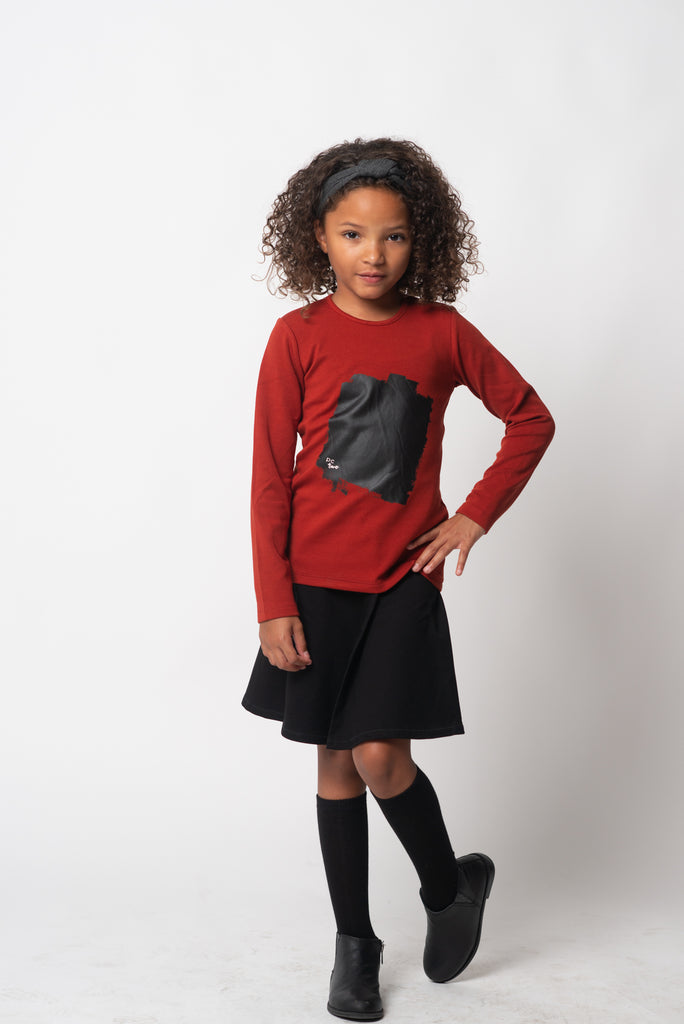 Girls Black Patch Brick Tshirt
