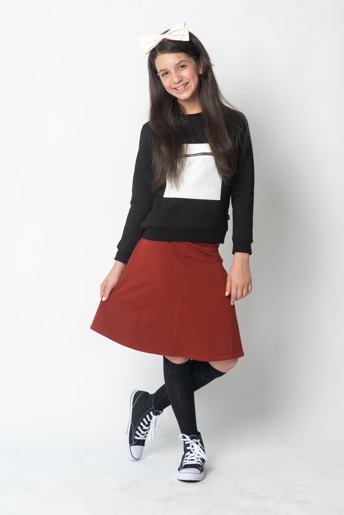 Girls Basic Skirt in Rust
