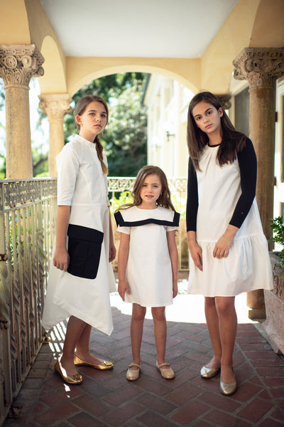 Teens'  Asymmetrical Dress in White
