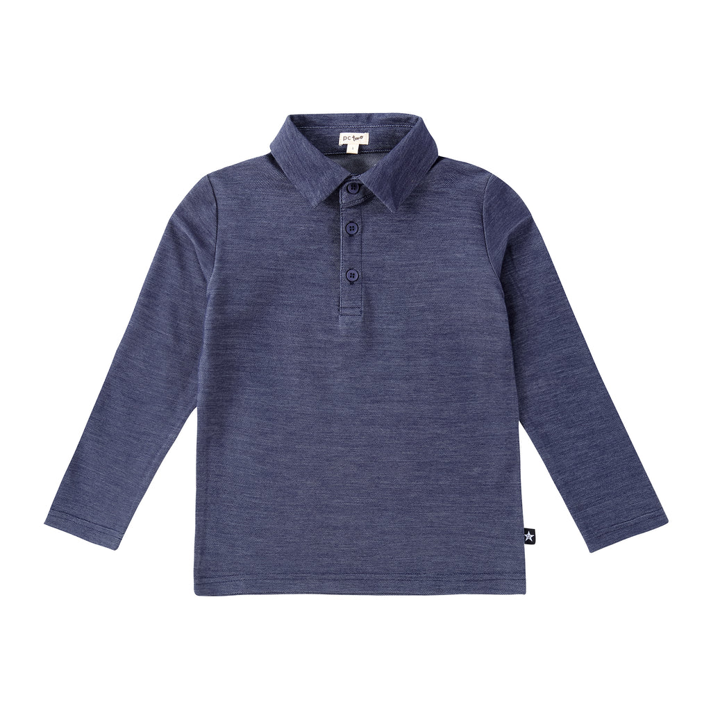 Boys Long Sleeve Polo in Stretch Denim