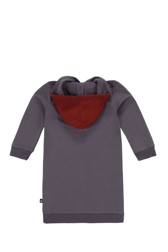 Girls Hooded Sweatshirt dress in Grey