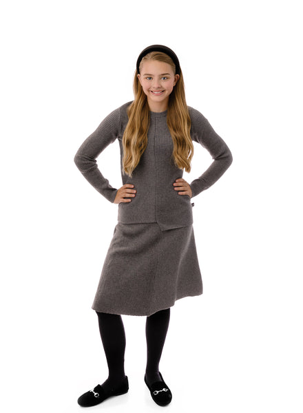 Teens' Knit Skirt in Grey