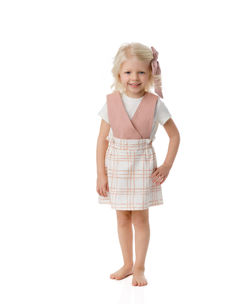 Sketch Plaid Suspender Dress in Strawberry