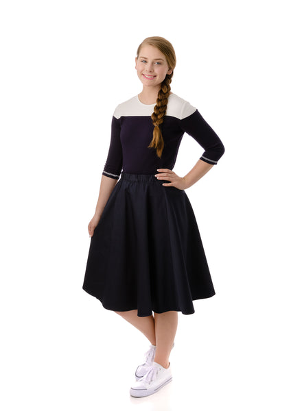 Girls' Polished Cotton Skirt in Black