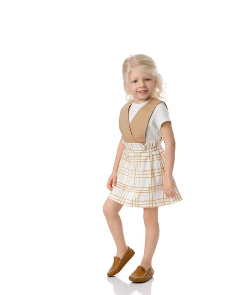 Sketch Plaid Suspender Dress in Latte