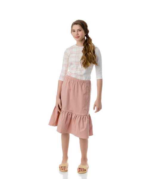 Teens Button Skirt in Strawberry