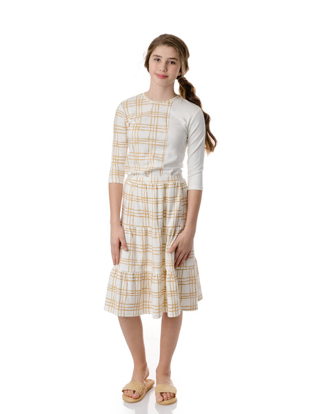 Sketch Plaid Skirt in Latte