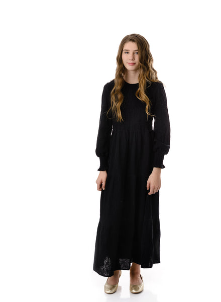 Teens Long Sleeve Black Tiered Maxi Dress