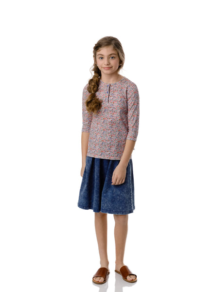 Girls Basic Blue Denim Skirt