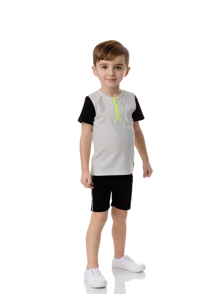 Boys Black and White Neon Zipper Set