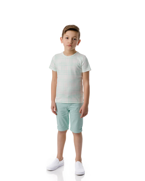 Boys Sketch Plaid Tshirt in Mint