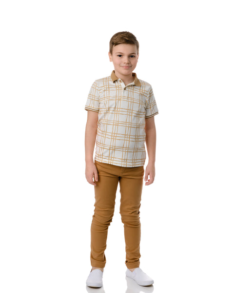 Boys Sketch Plaid Short Sleeve Polo in Latte