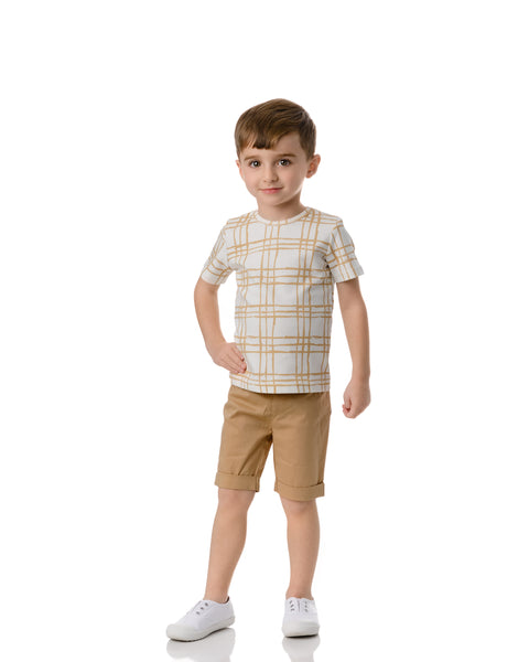 Boys Sketch Plaid T-shirt in Latte