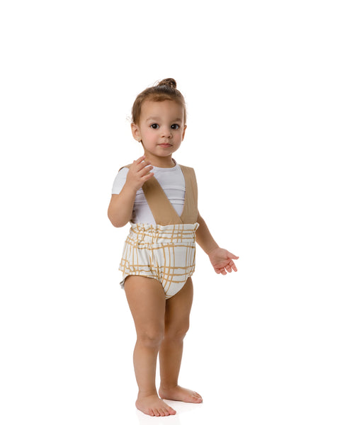 Sketch Plaid Ruffled Top Suspender Bloomer in Latte