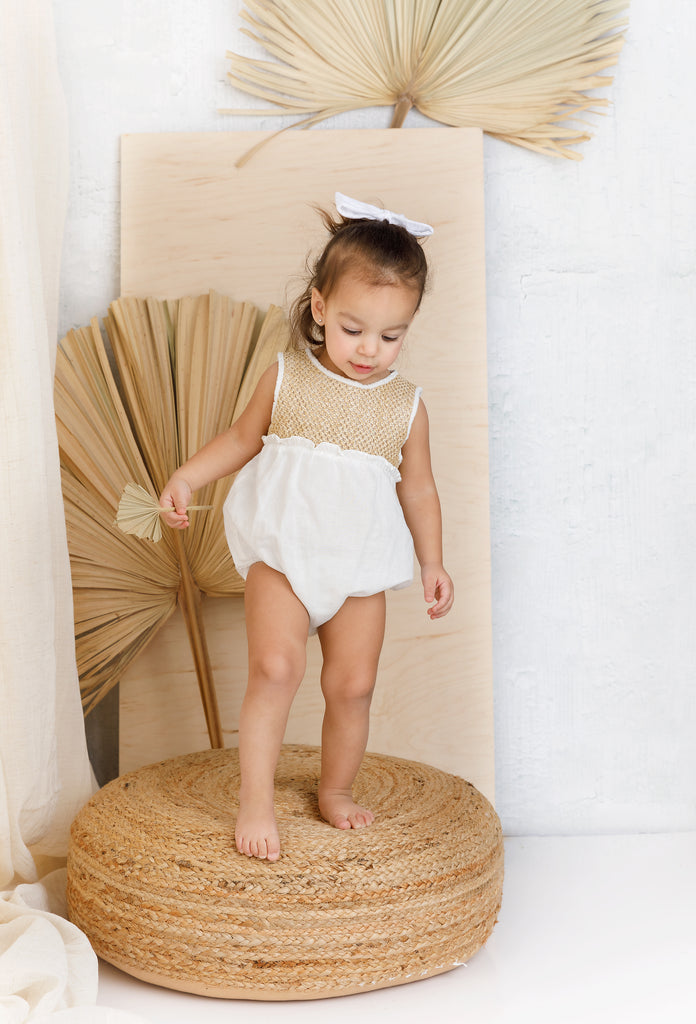 Baby Ivory and Weave Textured Romper