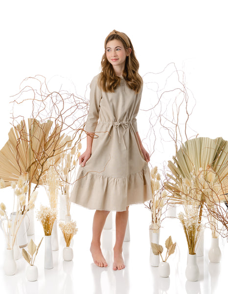 Teens Cork Color Linen Drawstring Dress