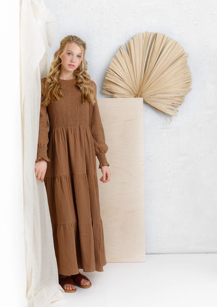 Teens Long Sleeve Camel Tiered Maxi Dress