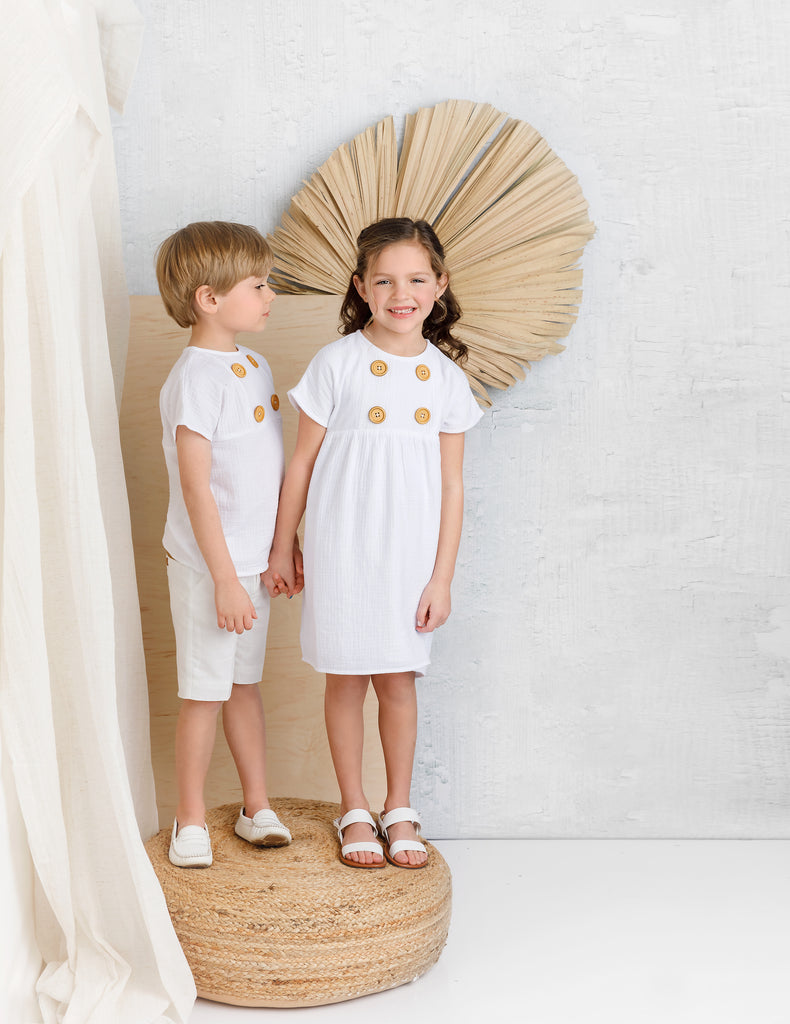 White Muslin Mandarin with Wooden Button Detail